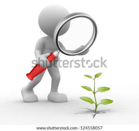 3d people - man, person with a magnifying glass and a sprout. - stock photo