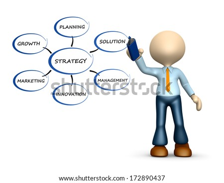 3d people - man, person with a marker. Conceptual image of strategy  - stock photo