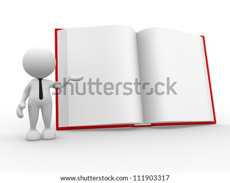 3d people - man, person with a open book. - stock photo