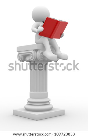 3d people - man, person with a open book and roman columns. - stock photo