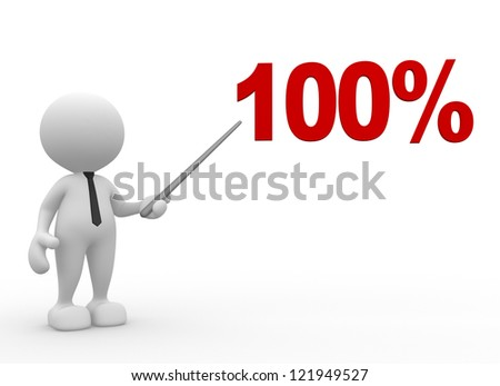 3d people - man, person with a percent sign.100%. Businessman - stock photo