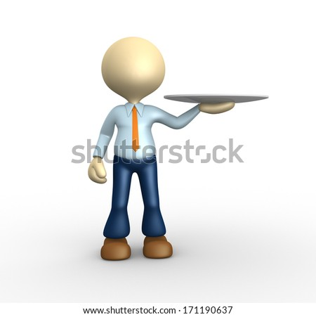 3d people - man, person with a plate.  - stock photo