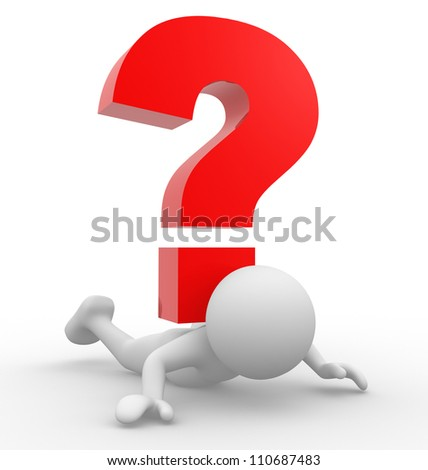 3d people - man, person with  a question mark - stock photo