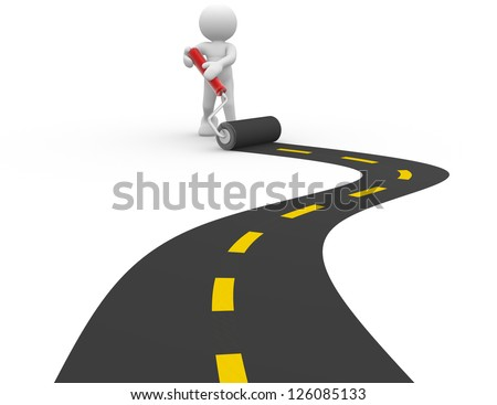 3d people - man, person  with a roller and paved road - stock photo