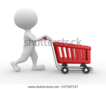 3d people - man, person with a shopping car  - stock photo