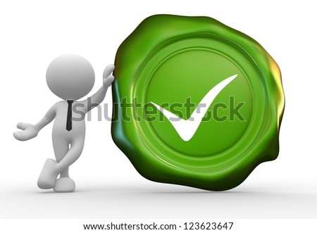 3d people - man, person with a wax seal and sign ok - stock photo