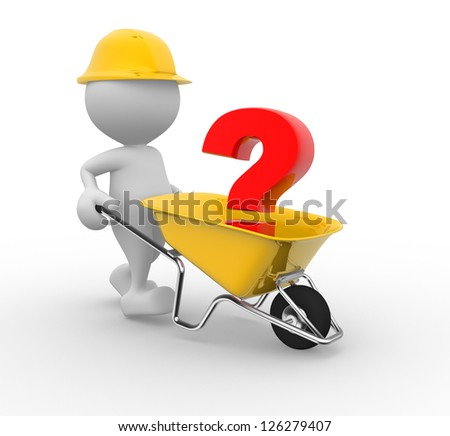 3d people - man, person with a wheelbarrow and a question mark - stock photo
