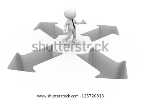 3d people - man, person with arrows. Confusion. - stock photo