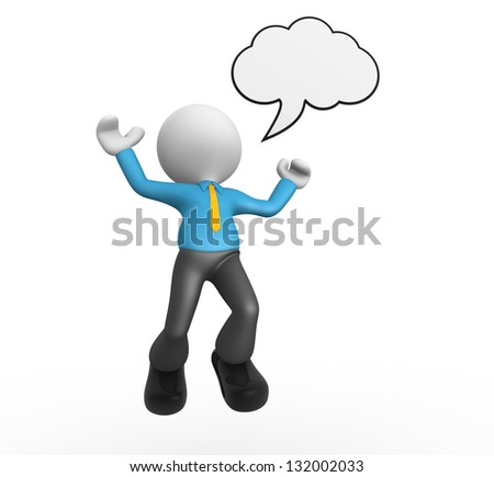 3d people - man, person with blank bubble. Happy - stock photo