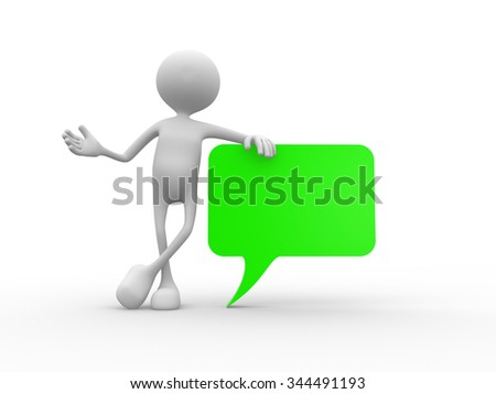 3d people - man , person with blank speech bubble - stock photo