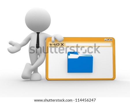 3d people - man, person  with browser window and a folder. - stock photo