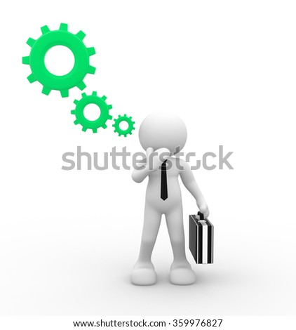 3d people - man, person with bubbles and gear mechanism. - stock photo