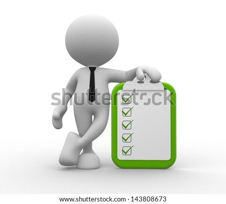 3d people - man, person with clipboard and checklist. - stock photo