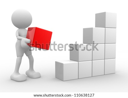 3d people - man, person with cubes. Success business - stock photo