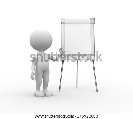 3d people - man, person with flip chart - stock photo