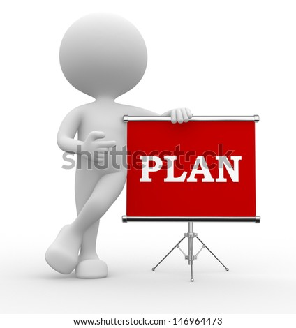 3d people - man, person with flip chart and word PLAN - stock photo