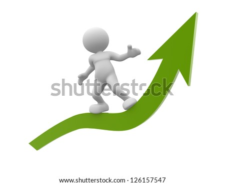 3d people - man, person with flying on arrow. The concept of success - stock photo