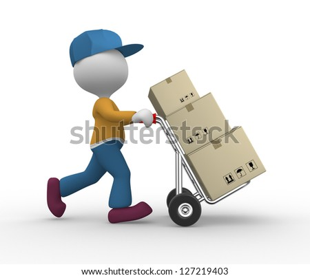 3d people - man, person with hand truck and packages. Postman. - stock photo