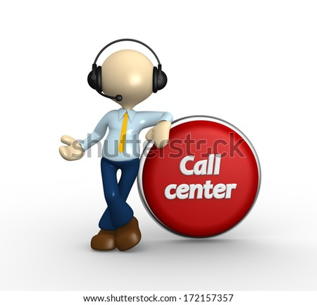 3d people - man, person with headphones and a button. Call center. - stock photo