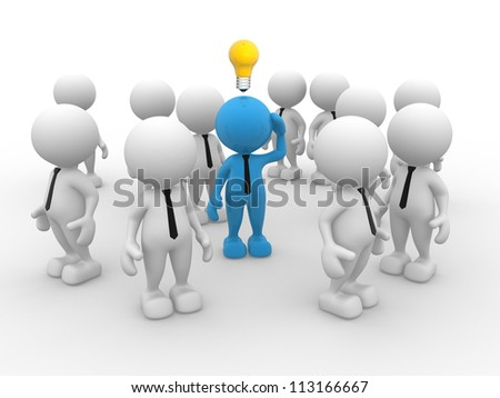 3d people - man, person with idea light bulb above their heads - stock photo
