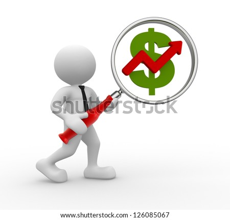 3d people - man, person  with magnifying glass and U.S. dollar. Graph financial - stock photo