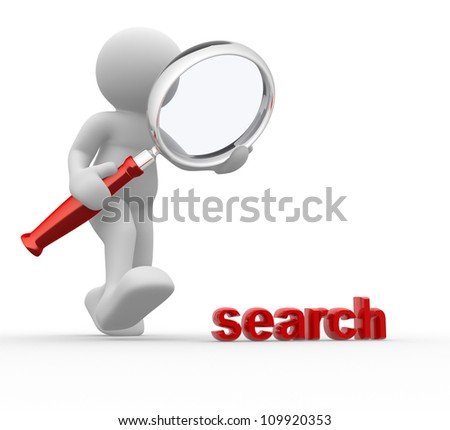"""3d people - man, person with magnifying glass and word """"search"""". - stock photo"""
