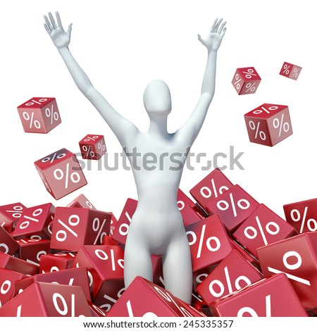 3d people - man, person with percent sign. Concept of discount - stock photo