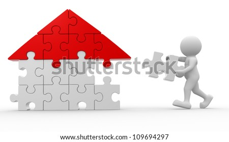 3d people - man, person with piece of puzzle ( jigsaw ). - stock photo