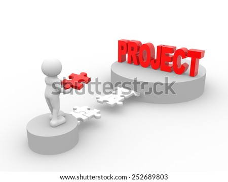 3d people - man, person with pieces of puzzle and word project - stock photo