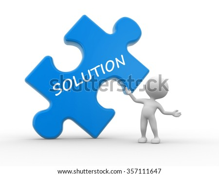 "3d people - man, person with pieces of puzzle and word ""Solution"" - stock photo"