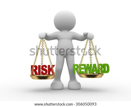 3d people - man , person with risks and rewards of a situation or issue on a scale - stock photo