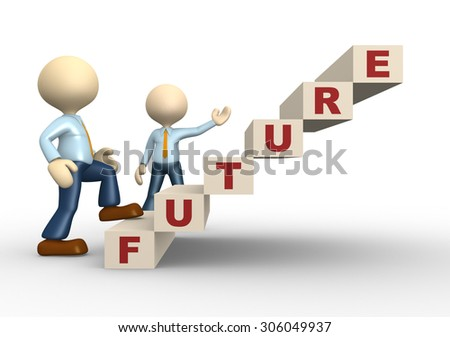 3d people - man , person with stair staps. Future concept - stock photo