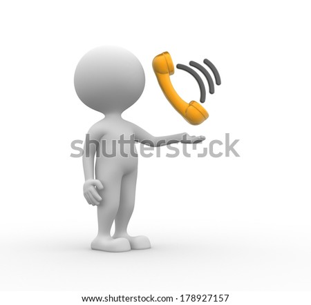 3d people - man, person with telephone handset - stock photo