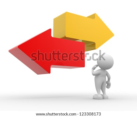 3d people - man, person with two arrows in different directions - stock photo
