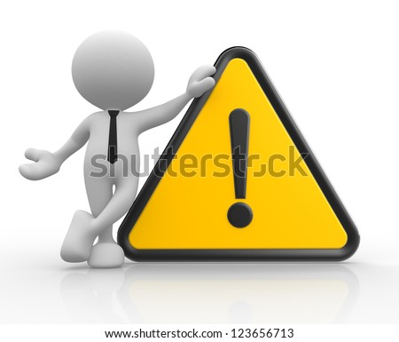 3d people - man, person with warning sign - stock photo