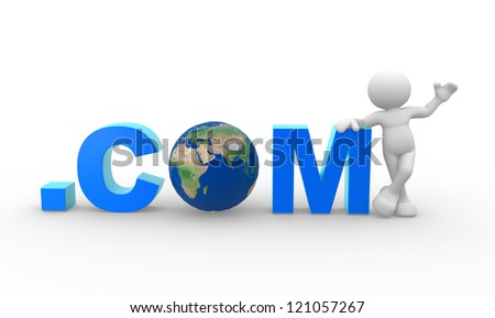 """3d people - man, person with word """".com"""" and Earth globe. The concept of communication - stock photo"""