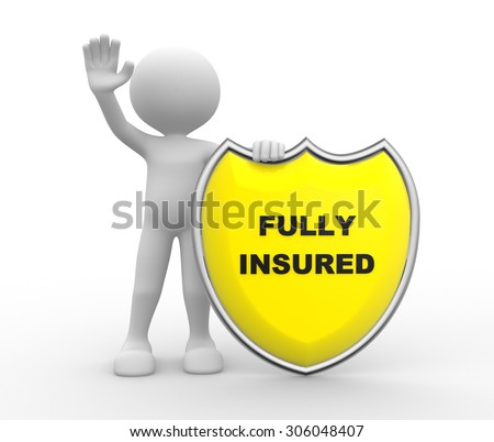 3d people - man , person with Yellow shield and text Fully Insured   - stock photo