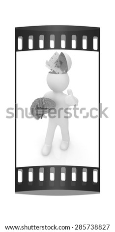 3d people - man with half head, brain and thumb up. Idea concept with puzzle. The film strip - stock photo