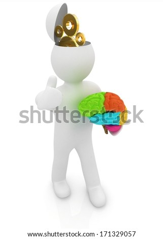 3d people - man with half head, brain and thumb up. New Concept of technical solutions with gears - stock photo