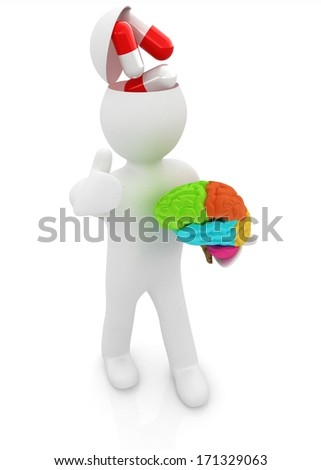 3d people - man with half head, brain and thumb up. New Medical concept with tablets - stock photo