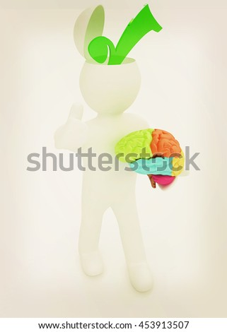 3d people - man with half head, brain and trumb up. Choice concept. 3D illustration. Vintage style. - stock photo