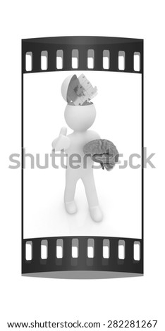 3d people - man with half head, brain and trumb up. Idea concept with puzzle. The film strip - stock photo