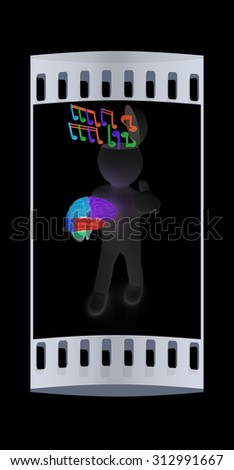 3d people - man with half head, brain and trumb up. Ð¡omposer concept with colorfull note. The film strip - stock photo