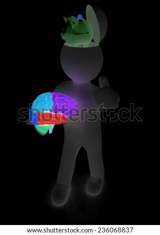 3d people - man with half head, brain and trumb up. Saving concept with piggy bank  - stock photo