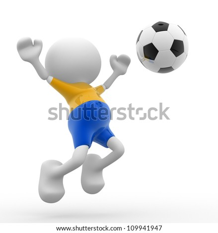 3d people - men, person and a ball. Football player. Caricature - stock photo