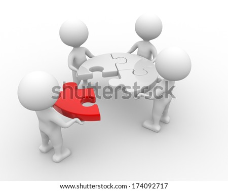 3d people - men, person and a pieces of puzzle. Jigsaw - stock photo