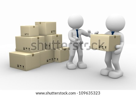 3d people - men, person and cardboard boxes. Postman. - stock photo