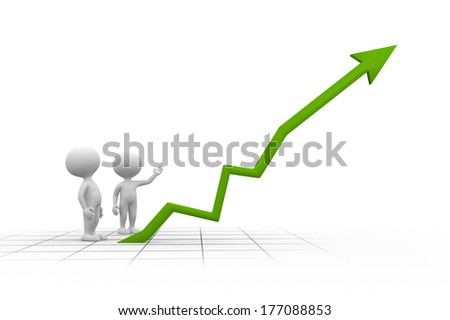 3d people - men, person and chart financial - stock photo