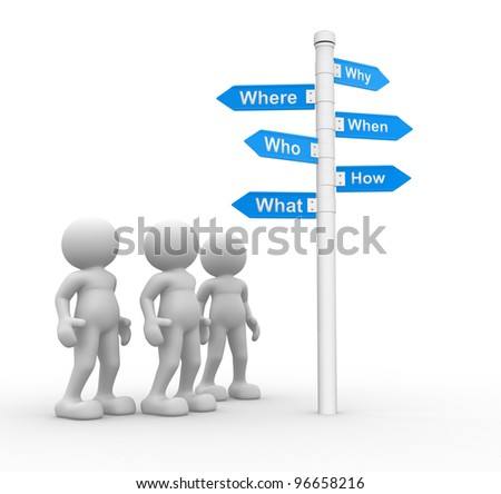 3d people -men, person and road sign with various questions ( where, who, why, when, how, what ) - stock photo