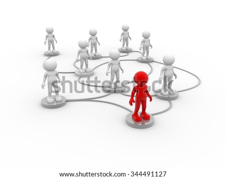 3d people- men, person arranged in a network - stock photo